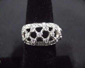 Estate Diamond Ring in 14k White Gold Lattice Work Design