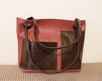 """sale - leather tote – ooak handmade chestnut brown bag - leather bag with pockets - genuine italian quality leather """"FABRIZIA"""""""