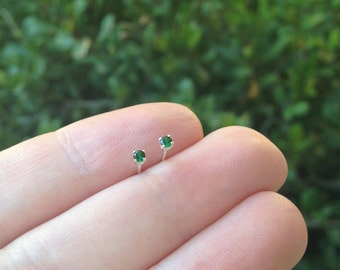 tiny 2mm emerald stud earrings, sterling silver, round simulated emerald gemstone studs, May birthstone