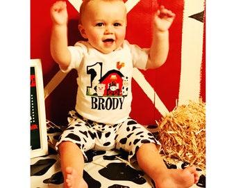 Barn Birthday Bodysuit, 1st Birthday Boy Bodysuit, Farm 1st Birthday, 1st Birthday Outfit, Boy Birthday Bodysuit, Barn 1st Birthday