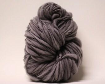 Merino Thick and Thin Yarn Bulky Hand Spun Wool Slub  Hand Dyed tts(tm) Gunmetal Grey 000x