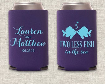 Two Less Fish in the Sea - Beach Wedding Can Cooler