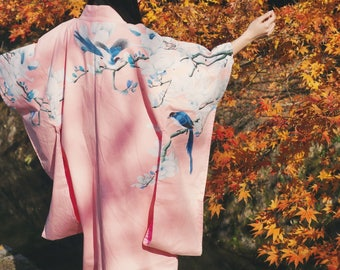 Lost in Kyoto Collection cold season multiple ways to wear red/green cherry blossom kimono dress