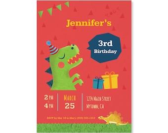 Printed Invitations - Dinosaur