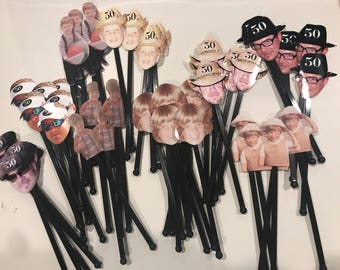 Over the hill birthday assorted photo drink stirrers NEW . Set of 12 stir sticks with no hat added.