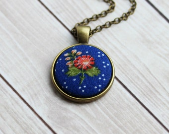 Small Blue Pendant, Retro Jewelry, Boho Vintage Floral Fabric Necklace With Polka Dots, Coral Red Flowers