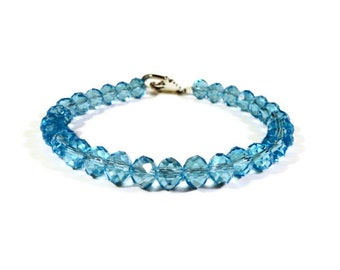 Turquoise Blue Crystal Bracelet, Aqua Blue Beaded Bracelet, Beadwork Bracelet, Crystal Tennis Bracelet, Women's Jewelry, Gift for Her