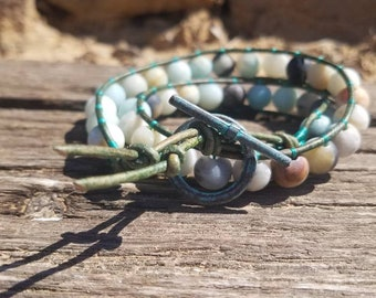 Various Color Leather Double Wrap Beaded Bracelet