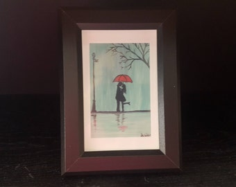 Romance in the Rain, miniature oil painting with frame