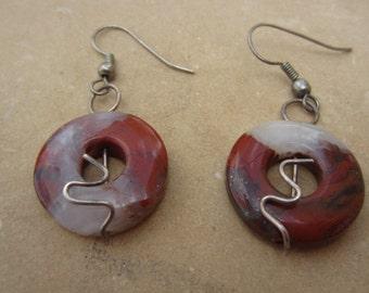 Silver and Stone Burnt Orange Onyx Drop Vintage Earrings