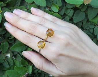 4 Prong Citrine Ring in Gold Rose Gold Sterling Silver
