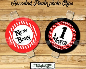 Baby Boy First year photo clip banner newborn to 12 months first birthday month banner first year banner Pirate birthday RIBBON INCLUDED