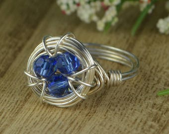 Birds Nest Birthstone Personalized Ring-Sterling Silver, Yellow or Rose Gold Filled Wire Wrapped-Size 4 5 6 7 8 9 10 11 12 13 14 1/4 1/2 3/4
