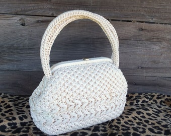 Vintage 50s/60s CORLISS, White Raffia Woven Spring/Summer Purse, Made in Japan