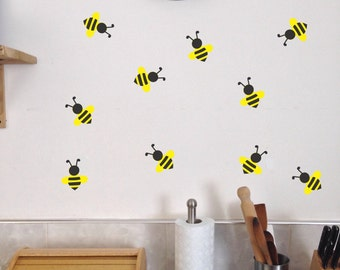 Bee Wall Decals, Set of 10, Summer Kitchen Bedroom Playroom stickers removable bees Honey buzz buzzy cute bug