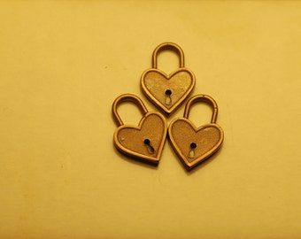 Bronze Heart Lock Charm