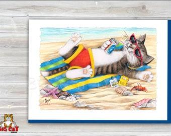 CAT CARD. Laid Back Cat, Cat on the Beach. 5x7 Framable Cat Art Card.  Tabby Cat Art, Beach Cat Art.  Retirement Card.