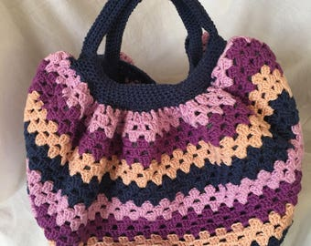 Mothers day hand bag fabric, Granny square, double crochet