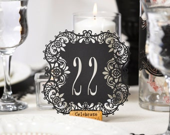Black Table Numbers Wedding Reception Laser Cut Table Number Cards 21 To 30