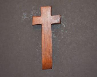 "Wooden Wall Cross; 4""x9""x1""; Rustic Cabin Decor;  Wall Cross Decor; Crooked Cross; Mesquite; Handmade;  Free Ground Shipping cc20-2121617"