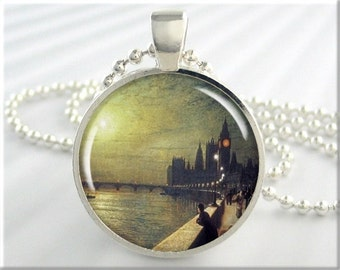Westminster Palace Necklace, Resin Charm, John Grimshaw Art, Resin Jewelry, London England Art, Gift Under 20, Round Silver 225RS