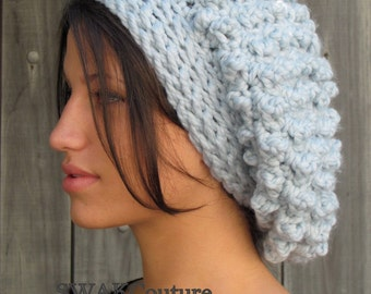 Womens Hat London Slouchy Hat Chunky Tam Wool Beanie Handmade Slouchy Bobble hat Alaskan Blue or CHOOSE Your color