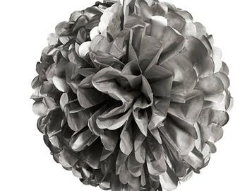 Small tassel paper silk ball silver 10cm
