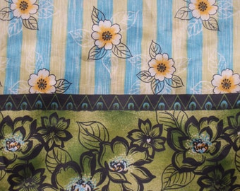 """Asian Influenced Floral Striped Fabric, Kimono Fabric, Faux Silk, Silky Polyester - 45"""" Wide, By the Half Yard"""