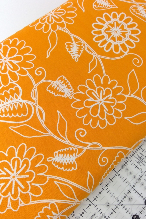 Sunkissed Orange Flowers On Stems With Leaves Clean Living by Barbara Jones of Quilt Soup, Quilt Fabric By The Yard 6693 30
