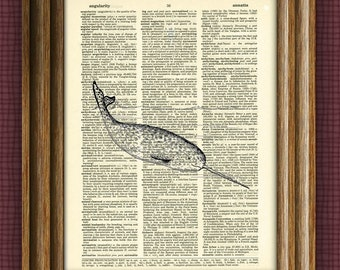 Narwhal Art Print Unicorn of the Sea over an upcycled vintage dictionary page book art