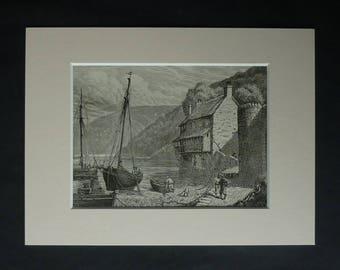 1880s Antique Clovelly Harbour Print, Torridge Picture, Available Framed, Devon Art, Victorian Nautical Illustration, Fishing Boat Wall Art