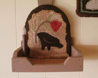 Crow & Flower Primitive Hooked Rug