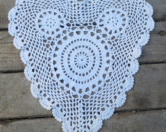 Vintage White Lace Heart Crocheted Doily 11-1/2 x 13 Inches
