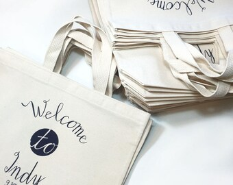 Set of 6 Wedding Welcome Tote Bags, Wedding Favors,  Initials and Date, Welcome to City, Customizable Tote Bags