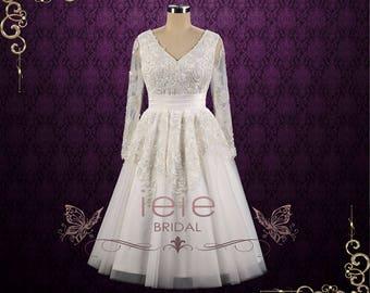 Retro Tea Length Lace Wedding Dress with Long Sleeves   Joycelyn