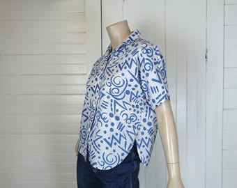 80s New Wave Blouse in Blue & White Abstract- 1980s Vintage Punk- Zig Zag Confetti- Short Sleeve Button Up Shirt Novelty Print
