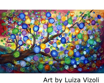 ORIGINAL 72X48 Art Painting Modern Large Colorful Tree Landscape Whimsical Art on HUGE Canvas