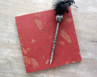 Red Guest Book 7.5 inches square, unlined pages, Ready to Ship