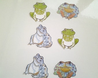 Frog and Toad stickers, unique hand cut Art Stickers, frog sticker set