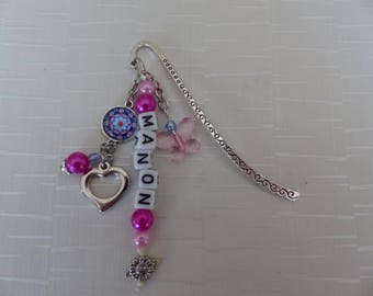 Customizable name pink and blue bookmark