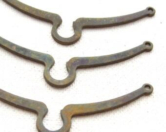 3 Vintage Aged Brass Bib Pendant Findings,60 mm, Pendant Bib Bail, Beading Supplies, Jewelry Making, Destash