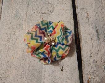Rainbow Chevron flower with jewel center- Hanna style*