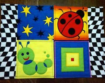 Place Mat Quilted Bugs for Children, Kids, Toddlers, Tweens or Adults Reverses to Christmas Dogs