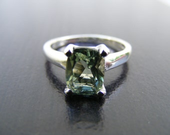 S303 Made to Order... Sterling Silver Simple Solitaire Ring with 2 Carat Natural Green Amethyst Gemstone