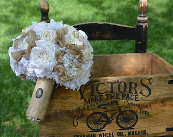 Local Bride's .... Shabby Chic Bouquet Using Your Mom's Old Wedding Dress