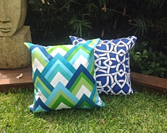 Green & Blue Outdoor Cushion Covers. Modern Outdoor Pillows Turquoise Outdoor Decorative Scatter Cushions, Modern Retro Pillows