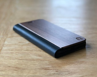 OXSY Black Leather & Wood iPhone Case | Samsung S8 / iPhone 6/7/8/X Folio Case / iPhone 7+/8+ Flip Case | iPhone 6/7/8/X Walnut Wood Case