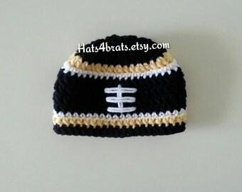 New Orleans Saints Baby Hat, Crochet Saints Hat, New Orleans Saints Football Hat, Baby Boy Saints Football Hat, Newborn Saints Photo Prop
