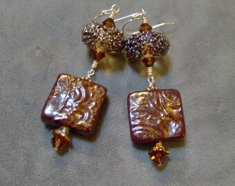 Lampwork Ceramic and Beaded Earrings-Organic Ceramic Artisan Earrings-Artisan Lampwork Dangle Earrings-SRAJD - Artisan Ceramic Beads