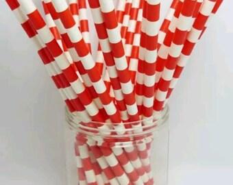 Red & White Horizontal Paper Straws